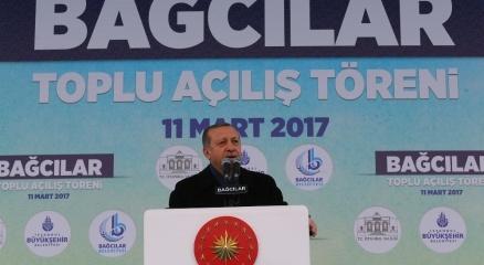 Erdoğan, Bağcılarda toplu açılış törenine katıldı