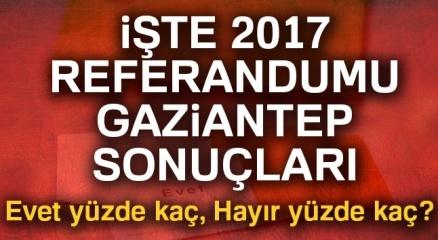 Gaziantep referandum sonuçları 2017! Gaziantep oy sonuçları   Evet hayır oranı öğren