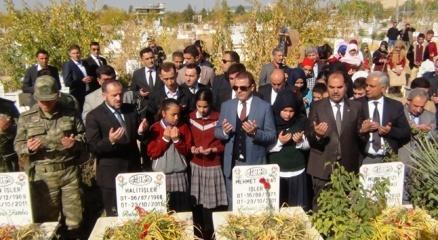 Depremde hayatını kaybedenler mezarları başında anıldı