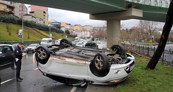 Takla atan araçtan burnu bile kanamadan çıktı! |İstanbul haberleri