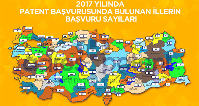 Türkiye'nin il il patent başvuru sayısı