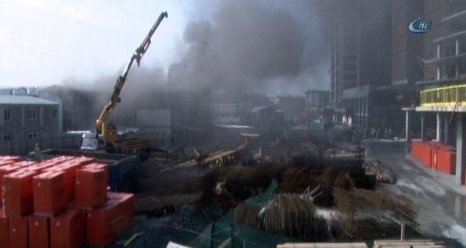İnşaat işçilerinin şantiyesinde yangın