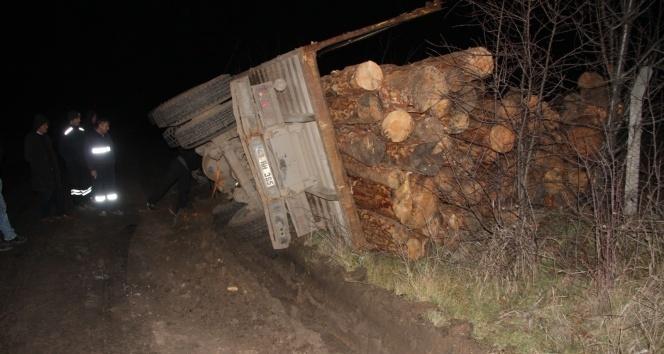 Tomruk yüklü kamyon devrildi