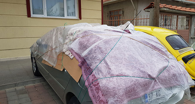 Tosya'da şiddetli dolu ve sağanak yağış uyarısına karşı vatandaşlardan ilginç tedbir