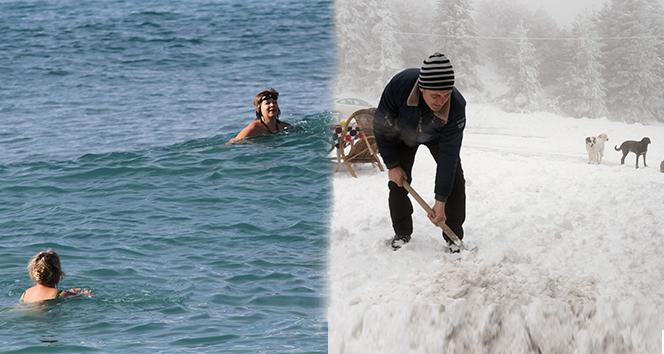 Yurtta kar, Alanya'da deniz keyfi