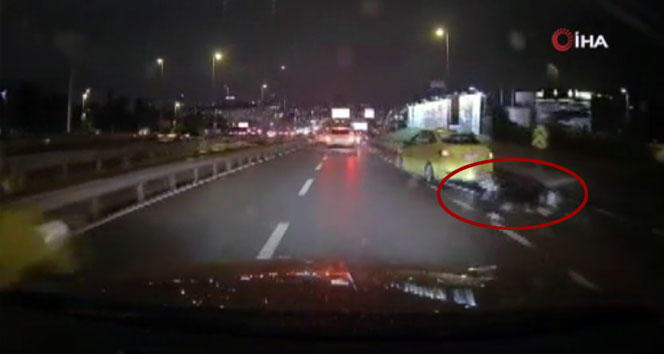 E-5 Karayolu'nda ilginç motosiklet kazası