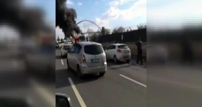 Başkent'te otobüs yangını