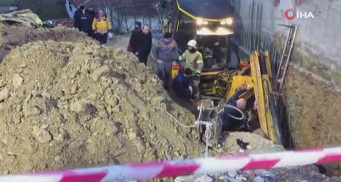 Arnavutköy'de inşaat alanında toprak kayması