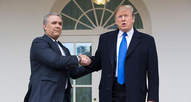 Trump, Kolombiya Devlet Başkanı Duque ile bir araya geldi