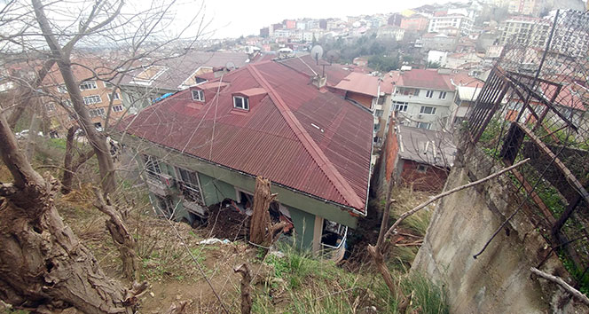 Eyüpsultan'da toprak kaydı, bir binada maddi hasar oluştu