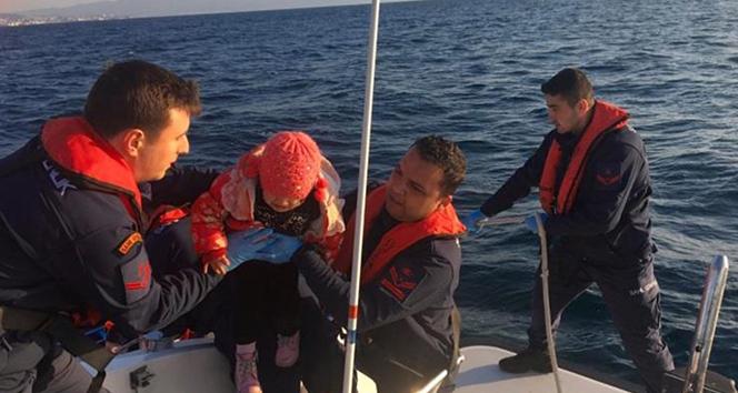 Kuşadası Körfezi'nde 8'i çocuk 16 kaçak göçmen yakalandı
