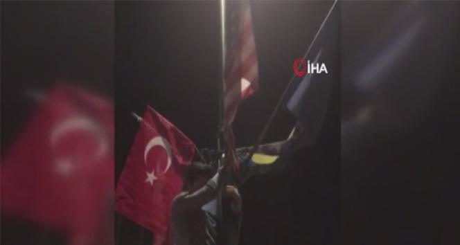 Ermeniler Türk bayrağını indirdi ülkücüler tekrar göndere çekti