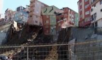 Kağıthane'de dört katlı bina böyle çöktü