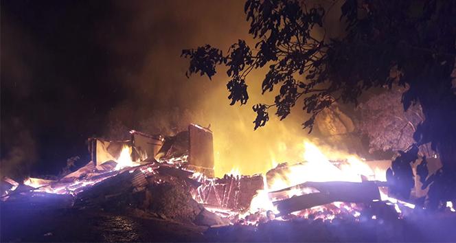 Artvin'in Yusufeli ilçesi Dokumacılar köyündeki yangın