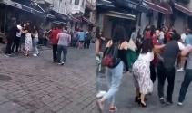 Taksim'de kadınlı ve erkekli kavga kamerada