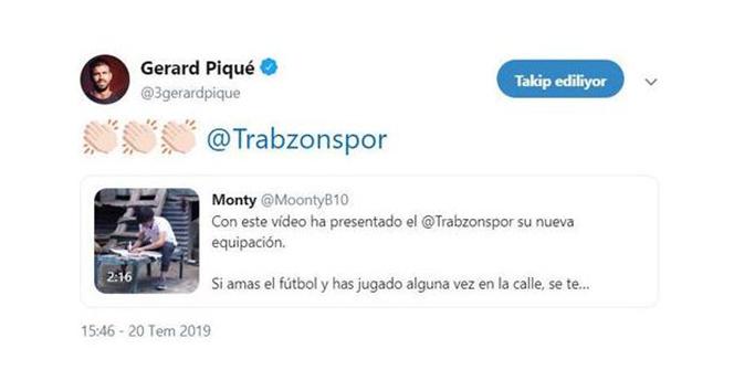 Pique, Trabzonspor'un paylaşımını beğendi
