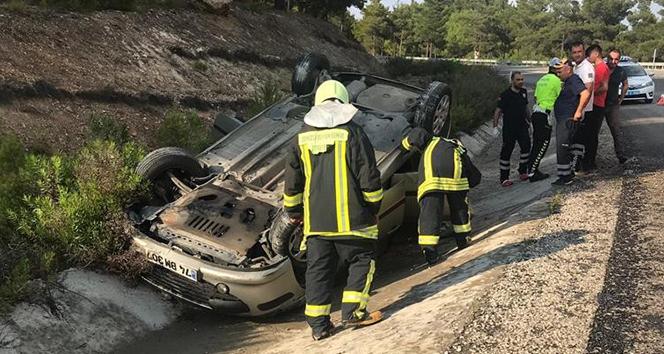 Kontrolden çıkan otomobil şarampole devrildi: 2 yaralı
