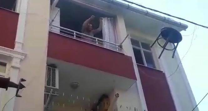 Sinir krizi geçiren kadın evi yaktı
