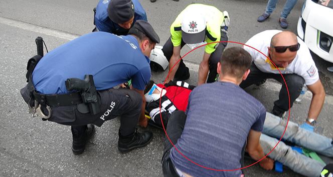 Motosikletlilerin seyir halindeki sohbeti kaza getirdi: 1 yaralı