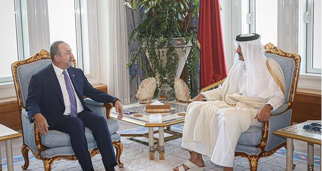 Bakan Çavuşoğlu, Katar Emiri El Sani ile görüştü