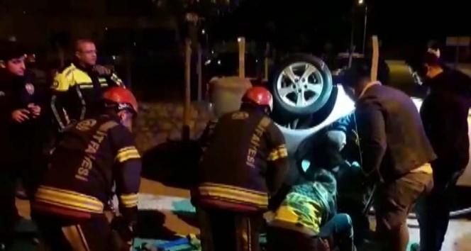 Kontrolden çıkan otomobil devrildi: 3 yaralı