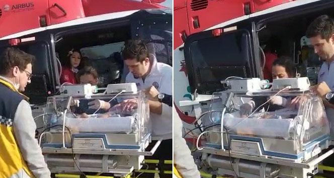 Helikopter ambulans 6 günlük bebek için havalandı