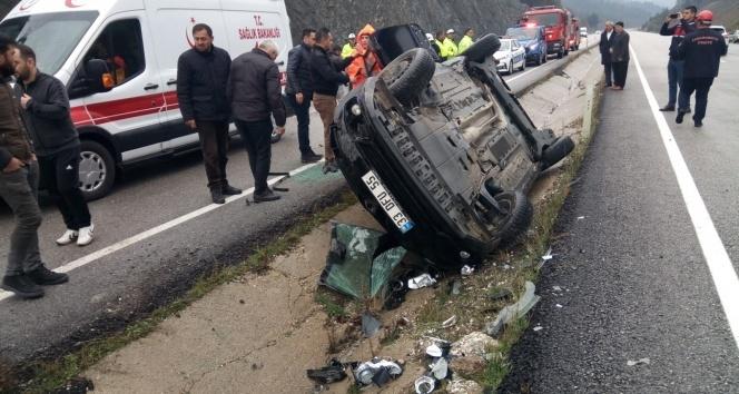 Otomobil kaygan yolda takla attı: 1 ölü, 3 yaralı