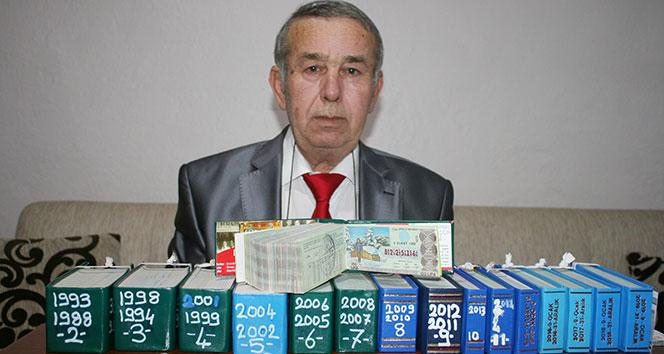 38 yıldır aldığı hiç ikramiye çıkmayan 7 bin piyango biletini biriktirdi