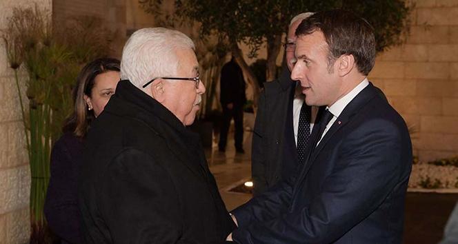 Macron, Filistin Devlet Başkanı Abbas ile görüştü