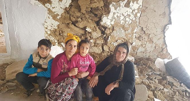 Depremin yıktığı evde yaşamaya devam ediyorlar