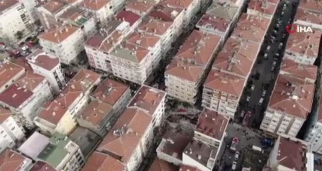 Bahçelievler'de çöken 7 katlı bina havadan görüntülendi