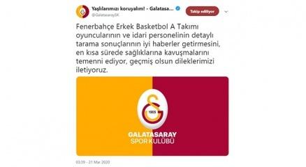 Galatasaraydan Fenerbahçeye geçmiş olsun mesajı