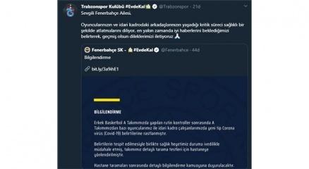 Trabzonspordan Fenerbahçeye geçmiş olsun mesajı