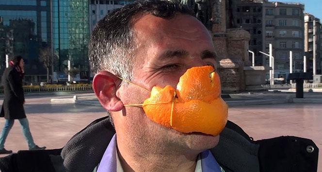 Portakal kabuğuyla yaptığı korona maskesi şaşkına çevirdi