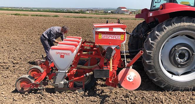 Sokağa çıkma kısıtlamasından muaf tutulan çiftçiler tohumları toprakla buluşturuyor