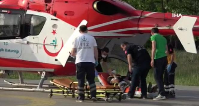 Böbrek hastasının yardımına ambulans helikopter yetişti