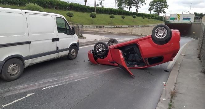 İşe giden genç aracıyla takla attı: 1 yaralı