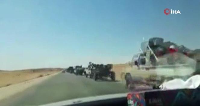 Trablus ve Terhune'den çekilen Rus paralı milislerin konvoyu görüntülendi