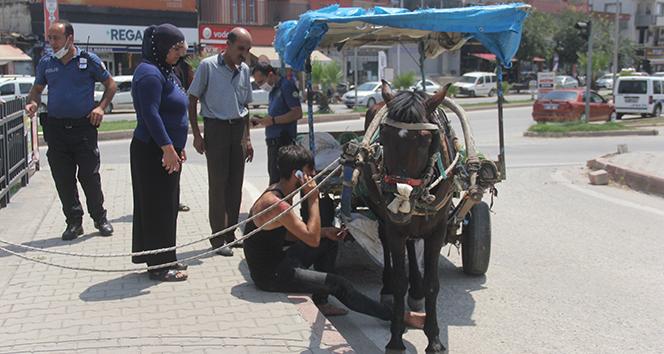 Yeğenini at arabasından attı, kendisi yere düşüp sürüklendi... Adana'da firar eden at kamerada