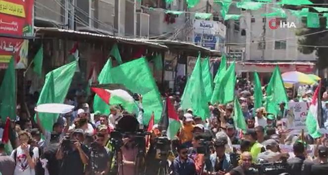 Gazze'de Filistinliler İsrail ilhak planı reddetti