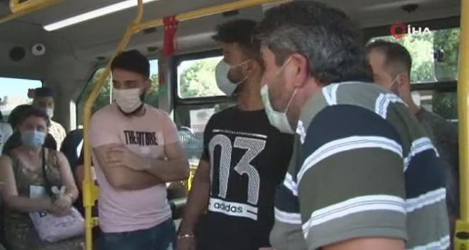 Fatih'te ceza yiyen minibüsçü yolculara kızdı