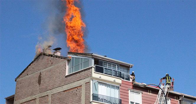 5 katlı binanın çatı katında korkutan yangın