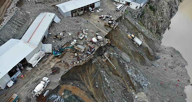 Selin vurduğu Yusufeli Barajı şantiyesi havadan görüntülendi