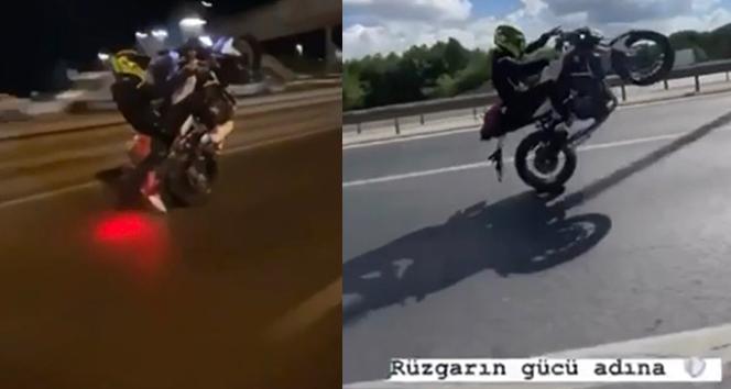 İstanbul'da motosikletli magandanın 'drift', 'makas' ve 'tek teker' terörü kamerada