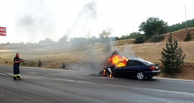 LPG'li otomobil alev alev yandı!