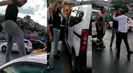Alibeyköyde trafikte kadına dehşeti yaşattı