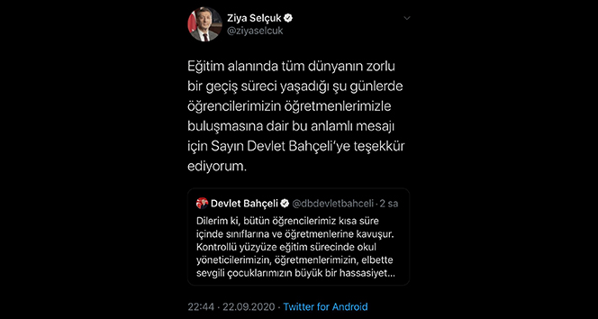 Milli Eğitim Bakanı Selçuk'dan MHP lideri Bahçeli'ye teşekkür mesajı