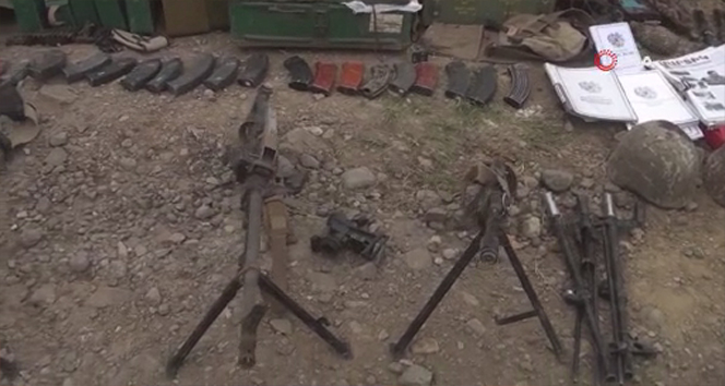 Cepheden kaçan Ermeni ordusuna ait silahlar görüntülendi