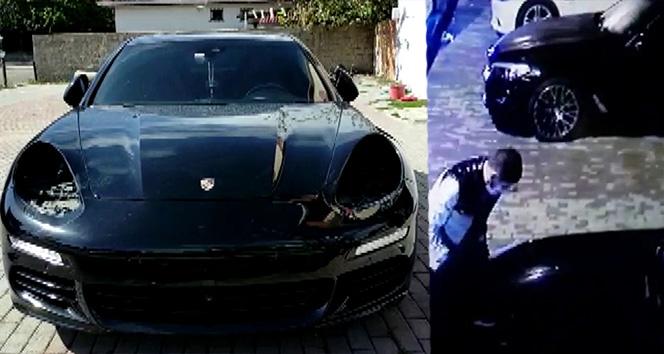 Sultanbeyli'de lüks otomobilin farları çalınması kamerada