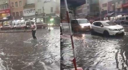 Karaköyde su baskını yaşandı